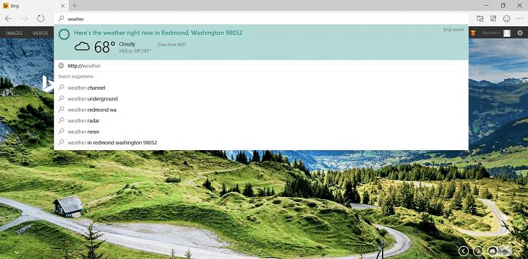 Edge's smart suggestions. Source: Microsoft's website