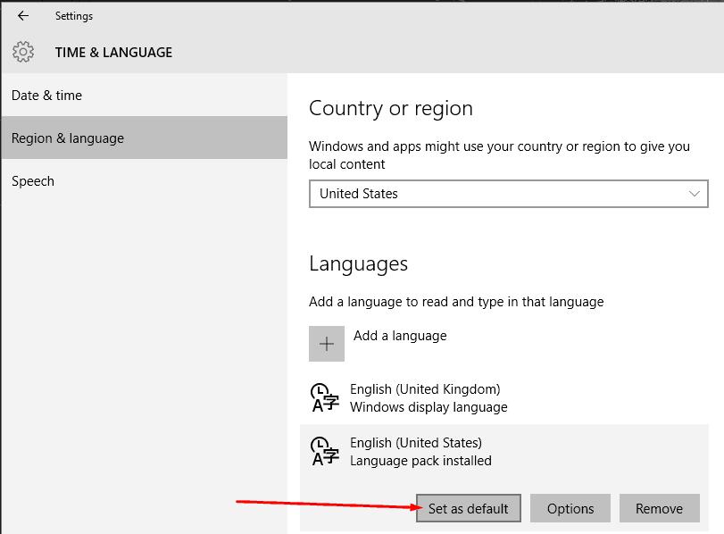 set language as default