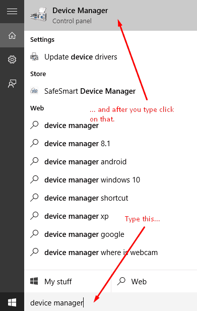 device manager search bar