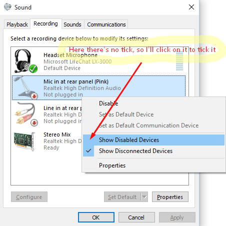how to add recording device wondows 10