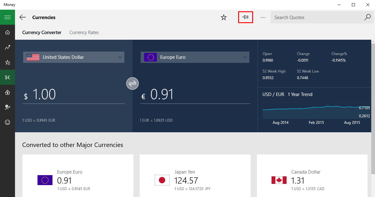 I've got US dollar vs Euro here and if I click on the pin icon shown in red...