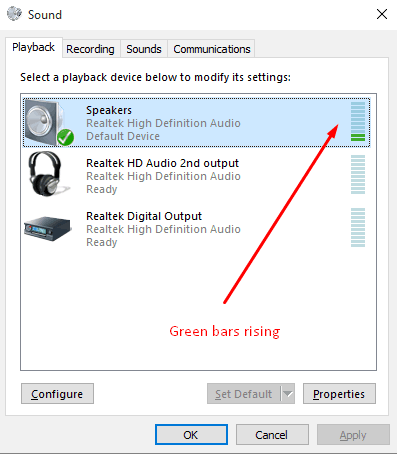 playback green bars rising