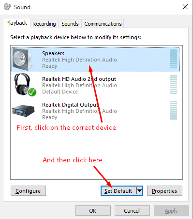 set device as default