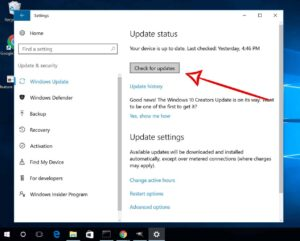 Settings Menu - Check for Updates button