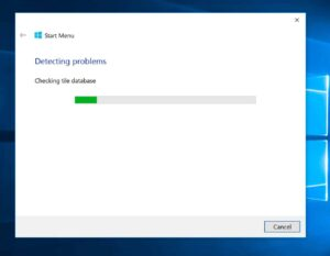 Start menu Troubleshooter - progress bar