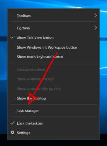Taskbar menu - Task Manager option