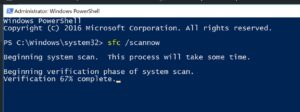 PowerShell window - Scan files