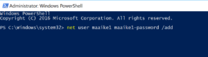 PowerShell window - Add user