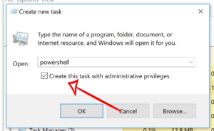 'Create new task' window