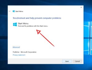 Start menu troubleshooter menu