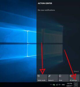 Action Center Menu - Tablet Mode option