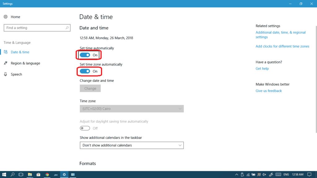 Turn on both Set time automatically and Set time zone automatically