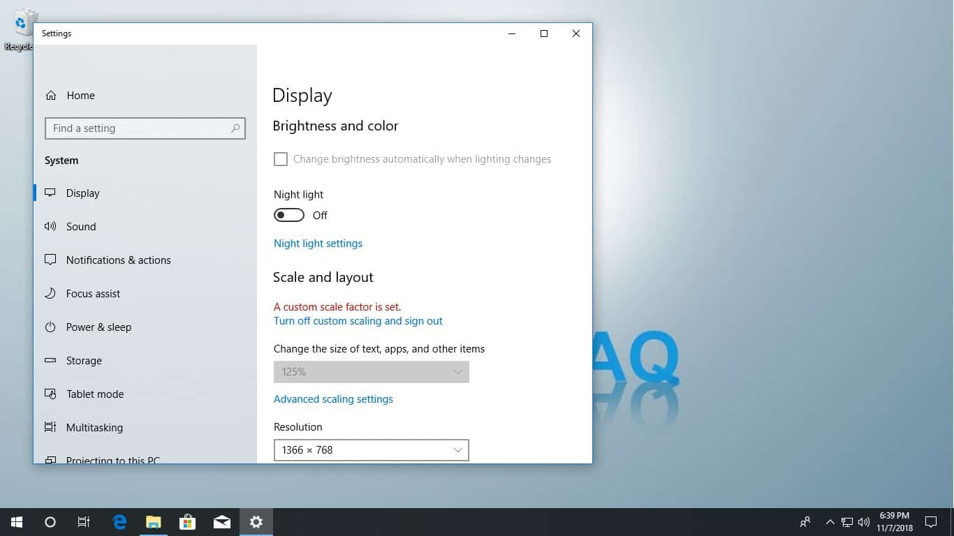 windows 10 unable to open display settings